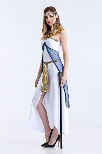 Ruanyi Halloween-Kostüm-Griechische Göttin-ägyptische Königin-arabisches Mädchen-weißes Kleid für Frauen (Size : M)