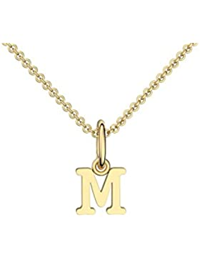 Halskette Buchstabe Gold hochwertig vergoldet Buchstabe M - inkl. Luxusetui + - Kette Buchstabe M Buchstabenanhänger...