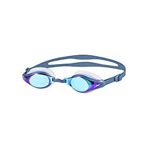 Speedo Unisex Adult Mariner Supreme Mirror Goggles, Clear/Navy/Blue Mirror, One Size