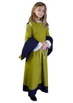 Kinderkleid mit Ärmeln Blau/Grün oder Grün/Blau 8-12 Jahre LARP Gewand Kids Mittelalter Fasching (XXXS / 6-8 Jahre, (Kostüme Für Epic Halloween Kinder)