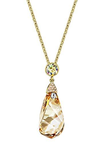 Neoglory Jewellery 14 K Gold mit Swarovski® Elements Tropfen Halskette lang (Modeschmuck Gelb Gold)