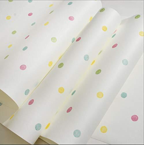 KYKDY Cute Polka Dot Kinderzimmer Tapete Bunte Punkte Baby Mädchen Jungen Kind Schlafzimmer Dekor Tapeten rollen Mural Papier Peint zq120, WEISS, 5,3
