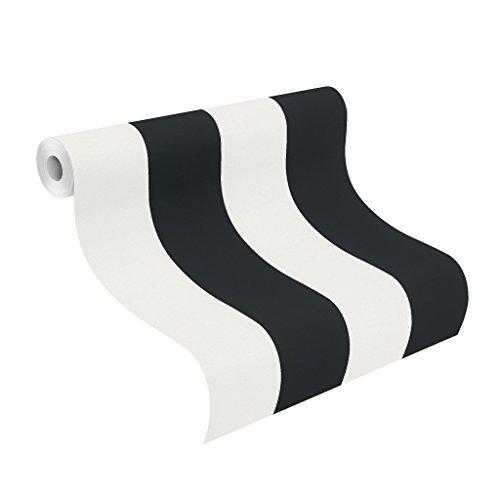 rasch Papier-Tapete, grafisch, Streifen, schwarz, Creme, Just Me, 286694, Weiß (Tapete Schwarz Und Creme)