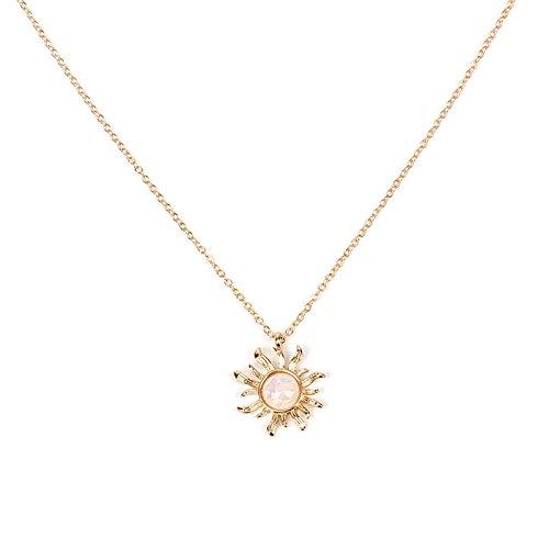 Modische Halskette, Sorliva Silber Gold Sonne Blume Anhänger Halskette Opal Kette Statement Halskette für Frauen gold (Sonne Halskette)