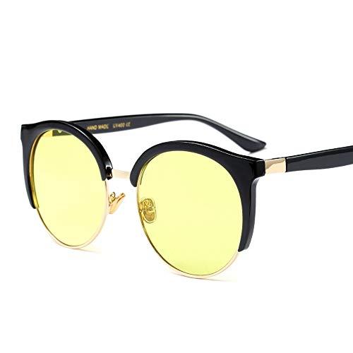 Runde Sonnenbrille Nerd Student gefälschte Gläser, klare Linse Männer und Frauen Brille (Farbe : Gelb)