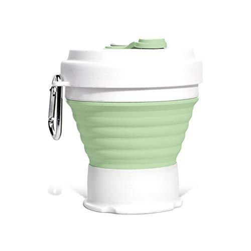 TO TO Faltbare Wiederverwendbare Kaffeetasse Aus Silikon Tragbare Faltbare Leichte Camping-Tasse Mit Deckel Erweiterbare Wassertasse Zum Wandern Im Reisesport 350 Ml Kaffeetasse Auslaufsicher Bpa-Frei
