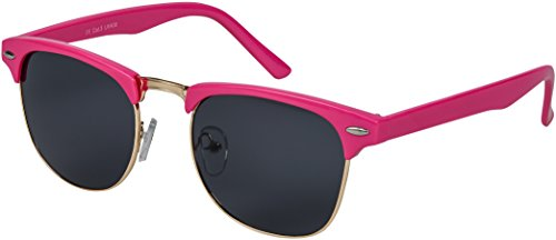 Balinco Retro Vintage Clubmaster Sonnenbrille mit 1/2 Rahmen Sunglasses (CM Pink - Smoke)