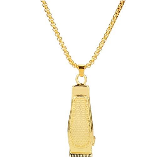 GHJ HalsketteSchmuck Gold Und Silber Farbe Rasur Drücker Metall Anhänger Halskette Power Halskette Für Männer Und Frauen, A (Schmuck-drucker)