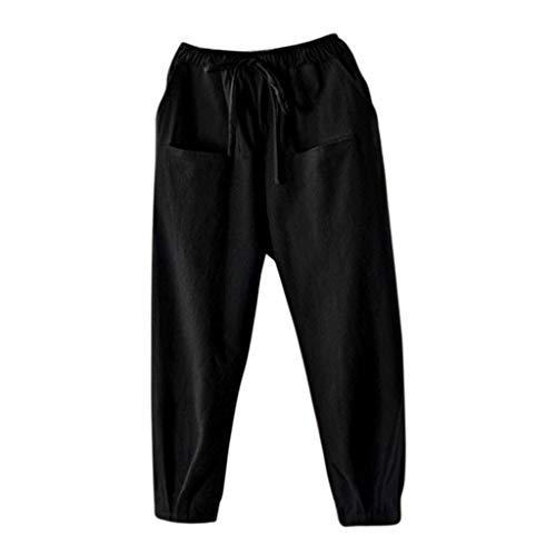 SHUBIHU Damen Yogahose Pilates Elastikbund Baumwolle Hosen Für Fitness Vintage Lose Hosen Jogginghose Neu 2019 (Schwarz, XXXL) (Rodeo Antik Leder)