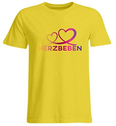 Shirtee Herzbeben - Bunte Herzen - Liebe Helene - Übergrößenshirt -3XL-Indischgelb