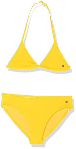 Tommy hilfiger triangle set costume da bagno, giallo (empire yellow 700), 152 (taglia produttore: 10-12) bambina