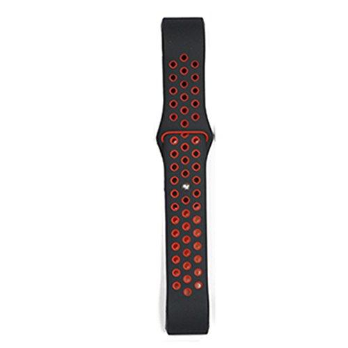 Providethebest Dual-Farben-Armband-Ineinander Greifen Sport-B¨¹Gel-Silikon-Ersatzgummi Blacelet-Ketten-Uhr-Gurt f¨¹r Fitbit Sch¨¹ttung 2 Schwarz + Rot