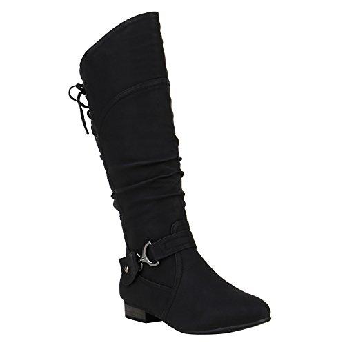 Klassische Stiefel Damen Schuhe Nieten Schnallen Leder-Optik 150295 Schwarz Schnallen 39 | Flandell®