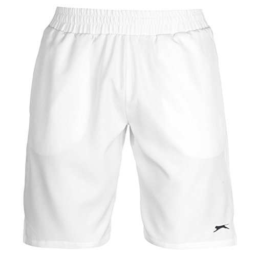 Slazenger Baseline Herren Tennis Shorts Leicht Sport Kurze Hose Kordelzug Weiß Large