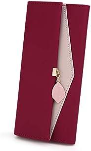 UTO Women PU Leather Wallet Large Capacity Leaf Pendant Card Phone Holder Checkbook Organizer Girls Zipper Coi