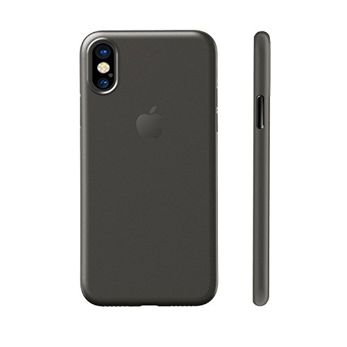 EasyAcc Custodia per iPhone X (Non per iPhone XS), Ultra Sottile Solo 0,45 mm PP Anti Graffio Case Anti Impronte Protettiva e Leggera Cover Compatibile con iPhone X – Nero Semitrasparente