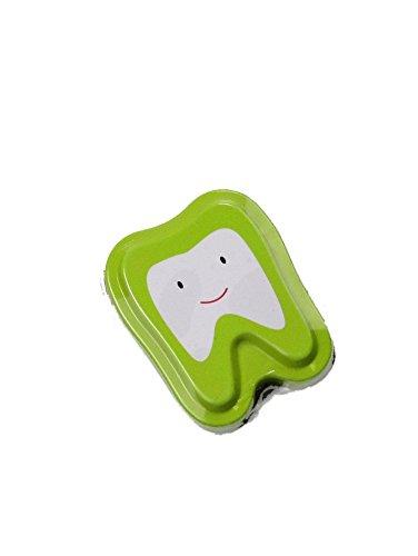Milchzahndose 4,3x5x1,5cm aus Metall (grün)