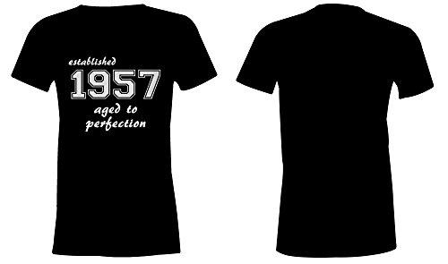 Established 1957 aged to perfection �?Rundhals-T-Shirt Frauen-Damen �?hochwertig bedruckt mit lustigem Spruch �?Die perfekte Geschenk-Idee (01) schwarz