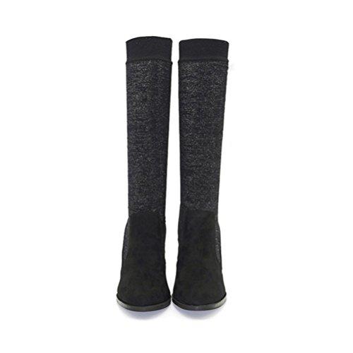 QPYC Donne Donne Stivali alti dell'alto tallone Microfibra strass Tacchi alti del ginocchio Stivali manica Heel Stivali femminili black