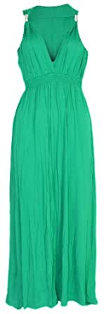 WOMENS JERSEY SPRING COIL MAXI DRESS SIZE 8 10 12 14 16 18 (L (14-18), GREEN)