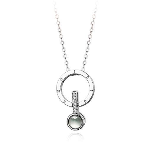 Beydodo Silber 925 Kette mit Anhänger Römische Ziffern mit 100 Sprachen Ich Liebe Dich Halskette Silber Hochzeitskette Damen