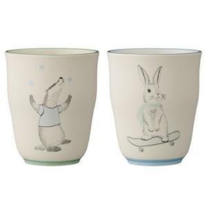 Bloomingville Petites tasses sans anse Marius, Lapin/Blaireau, en céramique, 2 pièces