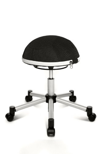 Topstar Sitness Half Ball, Fitness-Hocker, Arbeitshocker, Rollhocker, Dreidimensional bewegliche Sitzfläche, Stoffbezug, schwarz