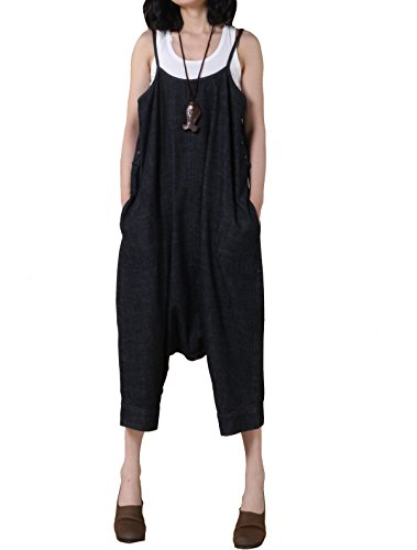 Voguees Womens Wide Leg Jeans Suspender Harem Trousers Pants Noir - Noir