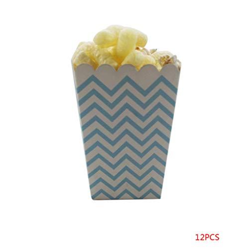 Meisijia 12PCS / Set Schöne Popcorn Box Süßigkeit sanck Favor Taschen Streifen-Geschenk-Beutel Hochzeitsfestbevorzugung Kinder Kino Party Supplies