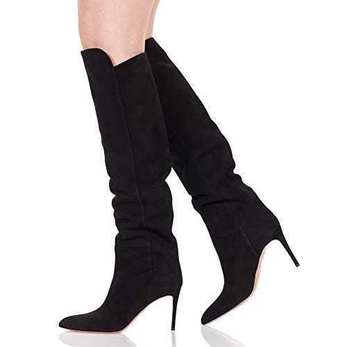 CYMIU Frauen Stiletto Spitze Mode Stiefel feine high Heel künstliche Kurze plüsch Knie Stiefel große größe Schuhe Winter, Black Feine Oxford