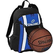Spalding Basketball Rucksack royal blau/schwarz incl. Ballnetz + Ballpumpe