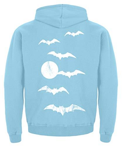 Shirtee Halloween Vollmond Fledermäuse - Kinder Hoodie -12/14 (152/164)-Himmelblau (Halloween An Vollmond)
