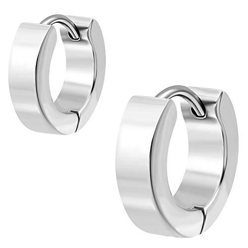 2 Stück klassische Creolen Ohrringe Ohrhänger Silber. Klapp-Creolen Edelstahl 4mm breit. (1 Paar)