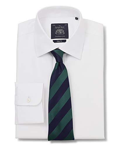 Savile Row Company Men's White Wide Herringbone Slim Fit Non-Iron Shirt - Single Cuff 17 1/2
