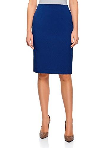 oodji Collection Femme Jupe Coupe Droite Basique, Bleu, FR 42 / L