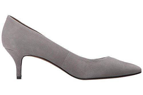 uBeauty,Damen Niedrige Absatz Büro Übergröße Pumps,Spitze Zehen Slip On Schuhe Grau Wildleder