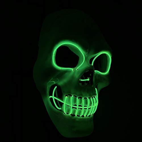 Up Neon Kostüm Light - WEISY LED Halloween Maske Light Up, Scary Neon Skull Leuchtende Maske für Erwachsene Männer Frauen Kinder Kinder Kostüme für Party Halloween