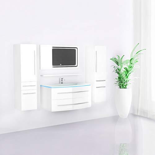 Midori © Badmöbel Komplett Set Badezimmermöbel Unterschrank Waschbecken Waschtisch Hochschrank Spiegel LED Touch Vormontiert Weiß Hochglanz 90 cm
