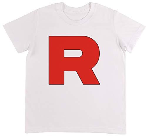 Team Rocket Weiß T-Shirt Jungen Mädchen Größe M | Unisex Kids White T-Shirt Size M