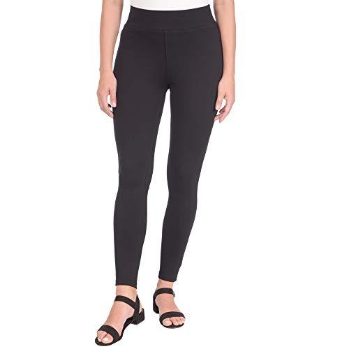 Lola Jeans Damen Anna Mid Rise Pull On 4-Wege Stretch Skinny Ponte Hose - Schwarz - Groß Slim Leg Maternity Legging