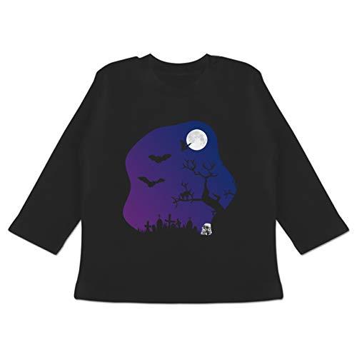 dhof gruselig Totenkopf Mond - 18-24 Monate - Schwarz - BZ11 - Baby T-Shirt Langarm ()