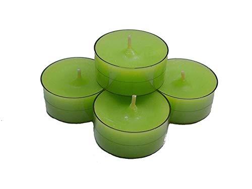 20 Dänische Teelichter im Acryl-Cup, Apfelgrün / Grün, durchgefärbt, ohne Duft - Duft Grün