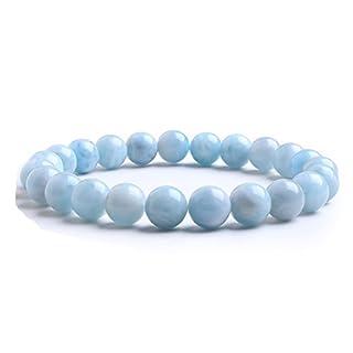 Candyfancy Aquamarin Stein Armband 8mm Natürlich Bergkristall Bead Perlen Elastisch Armreif Damen Herren