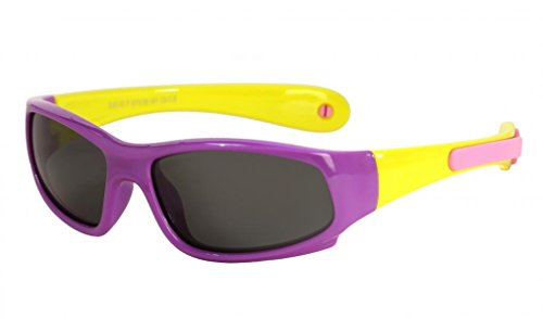WODISON Einstellbare Kinder Sport Sonnenbrillen Polarisierte Flexible Gummi für Alter 3 bis 8 (Lila Rahmen Gelbe Arme)