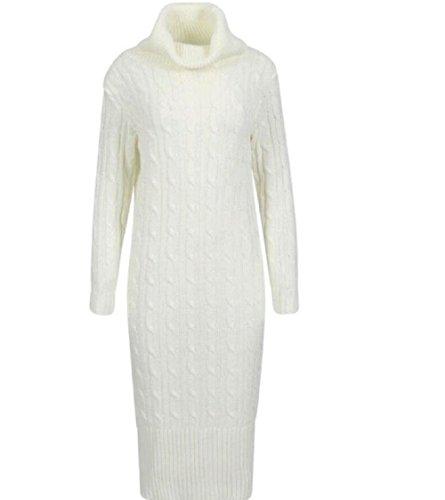 Generic Damen Plissee Kleid Cremefarben