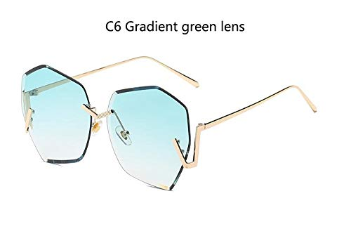 LAMAMAG Sonnenbrille Randlose Gradient Klare Sonnenbrille Frauen Übergroße Promi Blaue Linse Sonnenbrille Für Männer Gebogene Beine, 6