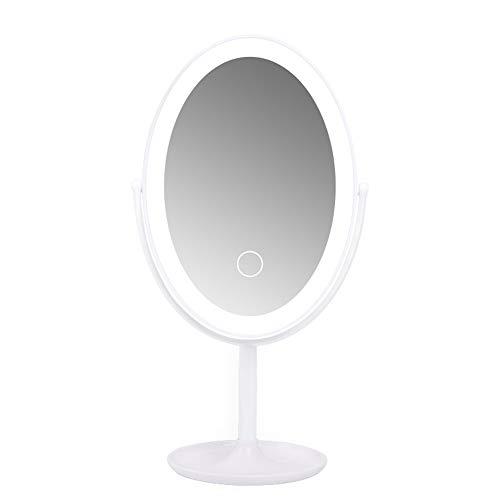Miroir de maquillage XIAHE Pliant Beauté Maquillage De Bureau Portable USB Charge Intelligent LED Miroir Pliant Multifonctionnel (Couleur : Blanc)