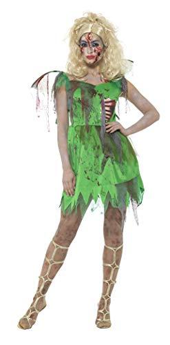 Kostüm Reißverschluss Zombie - Smiffys Damen Zombie Elfen Kostüm, Kleid mit angebrachten Latex Rippen und Flügeln, Größe: 40-42, 46860