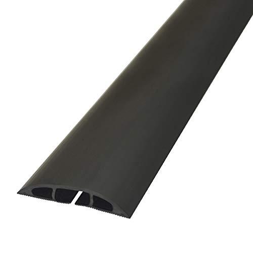 D-Line Fussboden Kabelkanal Stolperschutz CC-1,Kabelbrücke, 60mm breit x 1,8m Länge, Light Duty Boden Kabelschutz - Schwarz -