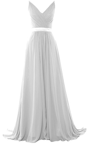 MACloth Women V Neck Mid Open Back Long Bridesmaid Dress Formal Evening Gown Weiß